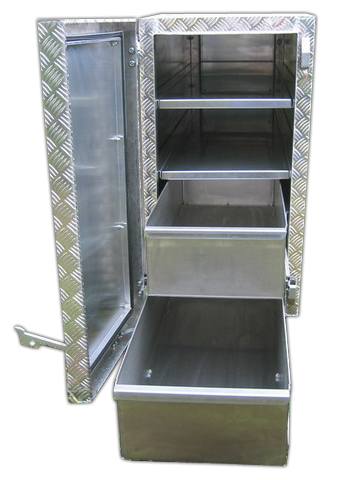 Große Pritschenbox mit Schubladen