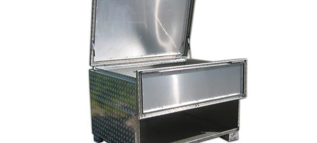 Alu Transportbox mit Füßen und 2 Öffungen
